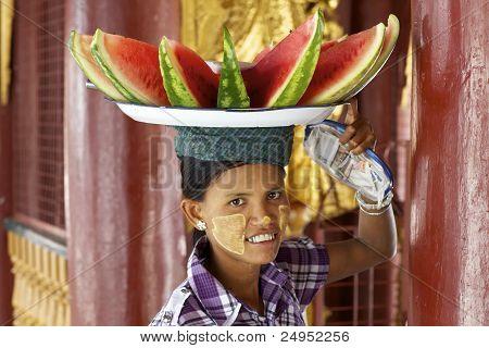 Burmese Woman Selling Watermelon