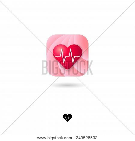 poster of Heart, Ui Icon. Medical, Health, Cardiogram Emblem. Pink Rounded Square With Heart On A White Backgr