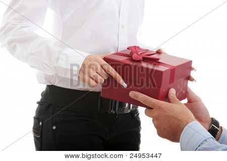 Business man offering a gift to a woman, isolated on white