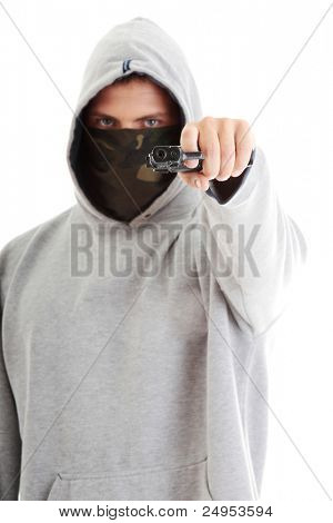 Criminal theme - masked man with gun, isolated on white