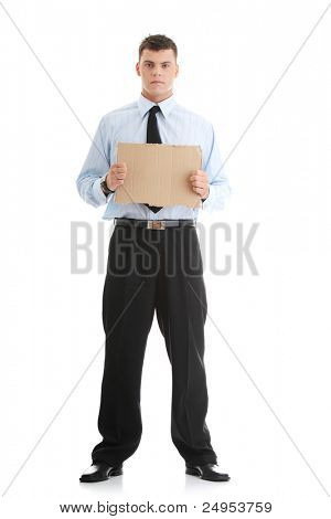 Unemployed businessman with blank cardboard sign , isolated on white background