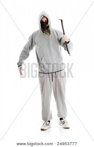 Criminal theme - thug with a crowbar isolated on white background