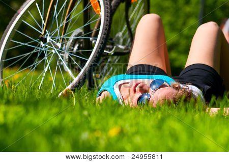 woan and her bike