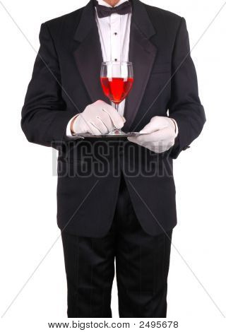 Waiter With Tray And Wine