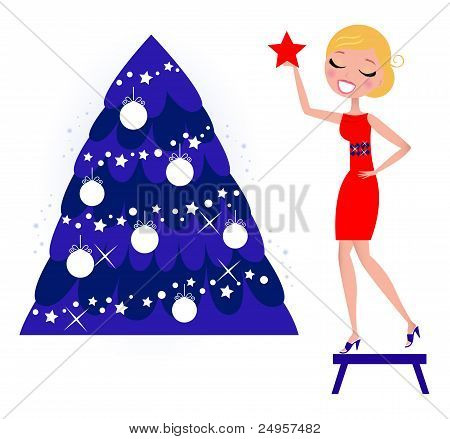 Cute Woman Decorating Christmas Tree Isolated On White, Retro..