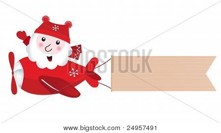 Santa Flying In Christmas Airplane With Blank Banner, Retro..