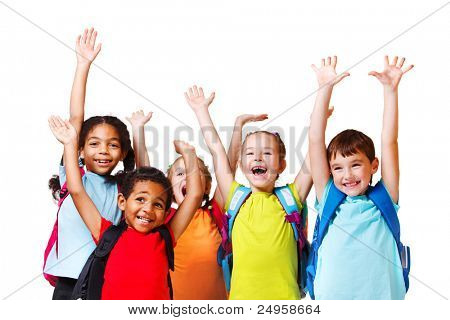Group of emotional friends with their hands raised