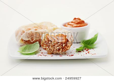salmon with rice - food and drink /shallow DOFF/