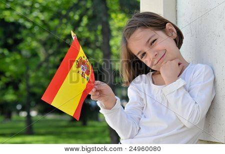 Young Girl With Spanish Flag