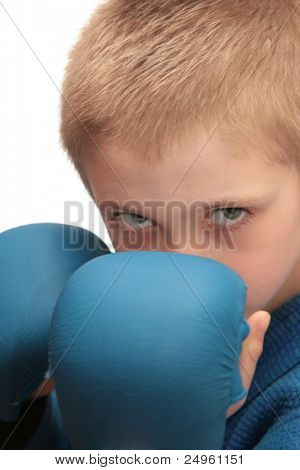 Boy with boxing gloves isolated on white.