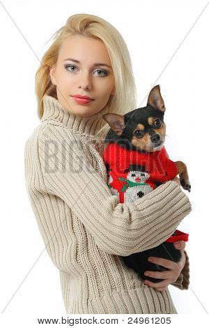 Beautiful Young Blond Girl With Cute Yorkshire Terrier Dog, Isolated On White.