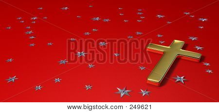 Gold Cross On Red Background, With Silver Stars