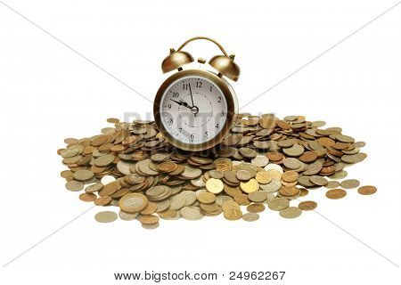 Clock and pile of money.