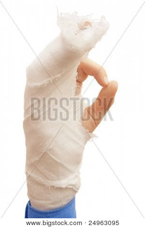Broken hand making OK sign.