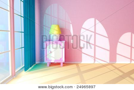 pink nightstand at the window