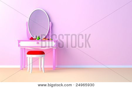 make up table at the wall