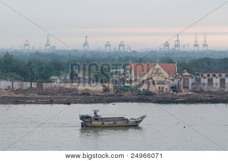 Old Barge On Saigon River