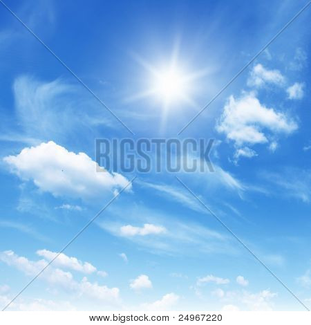 Blue sky,white clouds and sun.