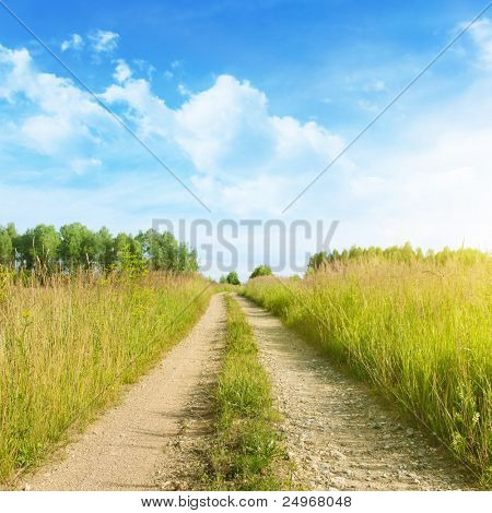 Rural road on sunny day.
