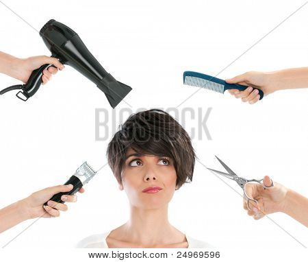 Young beautiful woman thinking with hairdresser tools among her isolated on white background