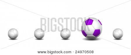 High resolution conceptual 3d soccer balls isolated on white, with one different as a leader