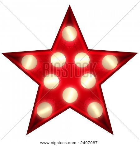 3D rendering of a glowing star ideal for show business signs (part of a complete alphabet)