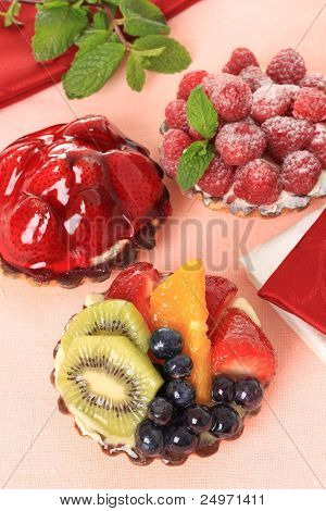 Fresh fruit pie tarts on display, also available in horizontal.