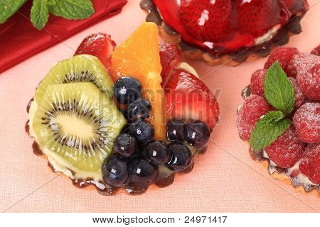 Fresh fruit pie tarts on display. Also available in vertical.