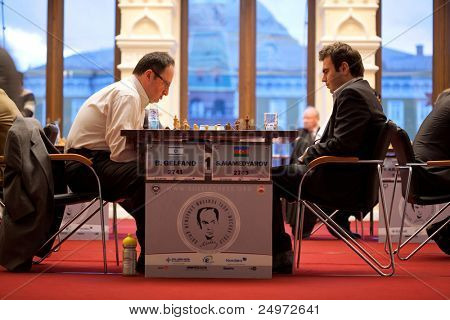 MOSCOW - NOVEMBER 4: Boris Gelfand (Israel, 42) - 2741 and Shahrijar Mamedjarov (Azerbaijan, 25)  2763 play on Michael Talja's fifth chess memorial on November 4, 2010 in Moscow, Russia.