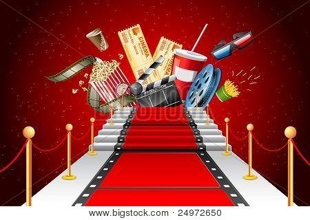 film stripe laying as red carpet