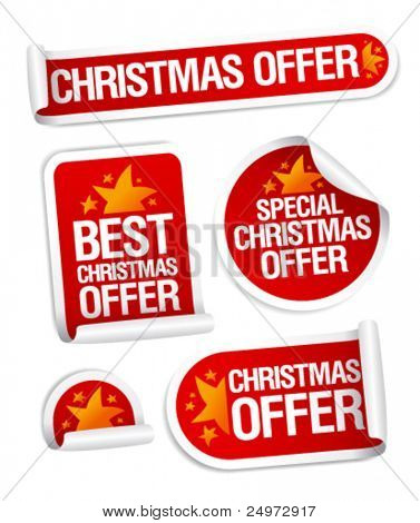 Best Christmas offers stickers set.