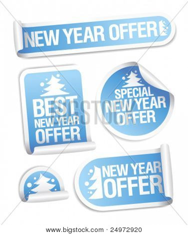 Best New Year offer stickers set.
