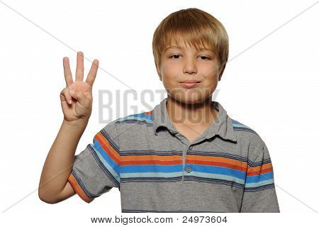 Cute Boy Holding up Three Fingers
