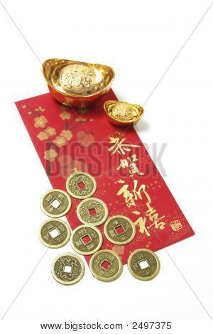 Chinese Coins And Gold Ingots On Red Packet