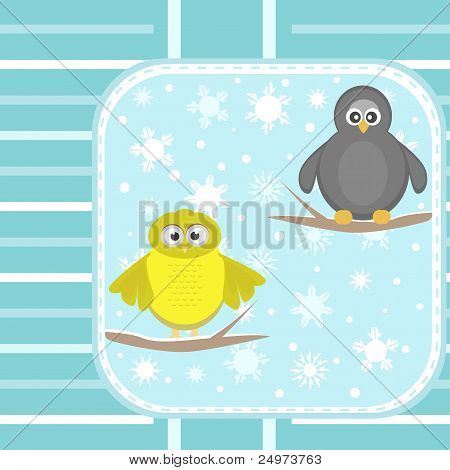 owl and a penguin on a tree under snowfall vector greetings card