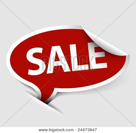 Red Vector Sale speech bubble as pointer with white border
