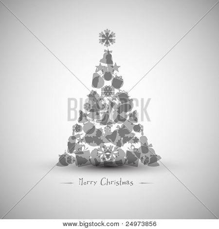 Vintage Vector christmas tree made from various shapes (black and white version)