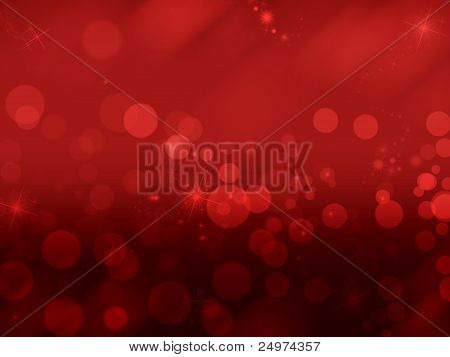 Abstract red background  with lights and shining stars