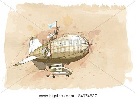 Dirigible balloon & watercolor vintage background. Bitmap copy my vector id 87724624