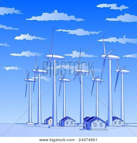 Industry concept: wind-driven generators & houses with solar power systems. Bitmap copy my vector id 11227393