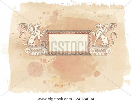 Vintage frame & Griffins, seated on an Ionic column - hand draw sketch. Bitmap copy my vector id 87989050