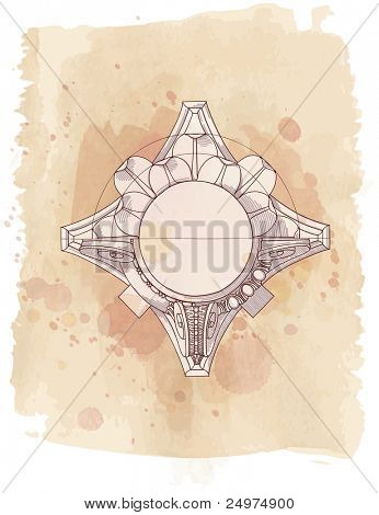 Chapiter- hand draw sketch composite architectural order & vintage watercolor background. Bitmap copy my vector id 87989056