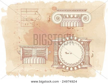 Hand draw sketch ionic architectural order & vintage watercolor background. Bitmap copy my vector id 87989023