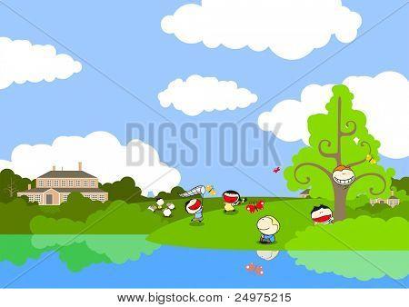 Cute kids playing on the lake coast (raster version)
