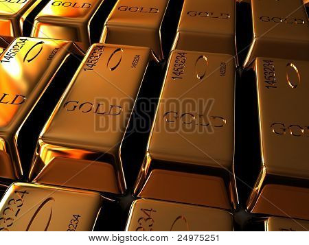 Gold ingots.3d rendering image.