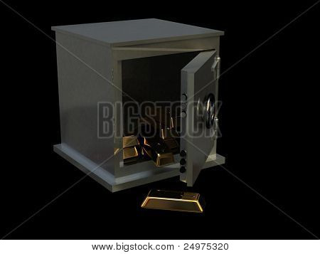 Safe and ingots. 3d rendering image.