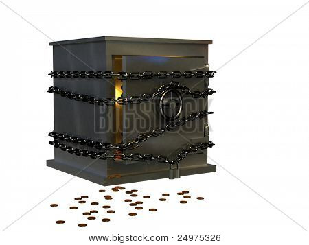 Safe and coins. 3d rendering image.