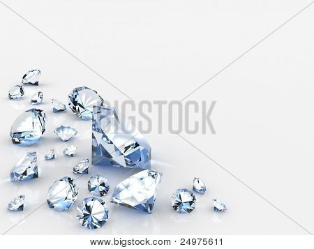 diamonds. 3d rendering image