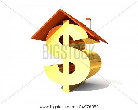 Dollar symbol under the roof