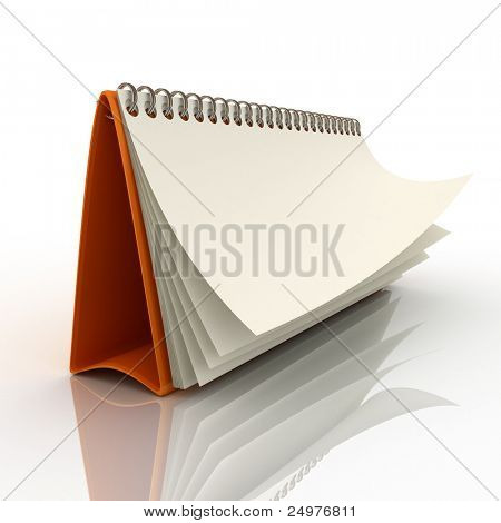 Desk calendar showing a blank page 1. 3d rendering